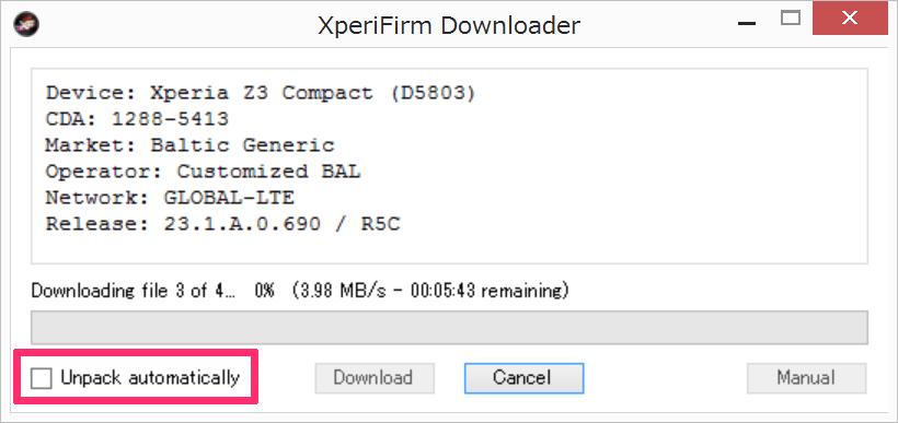 Xperifirm Unpack automatically option