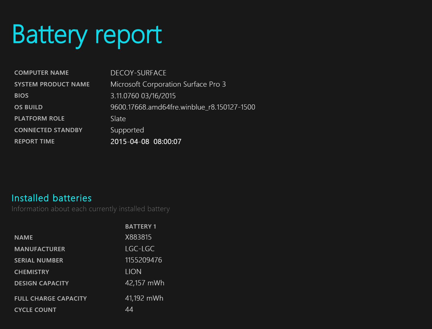 Battery report
