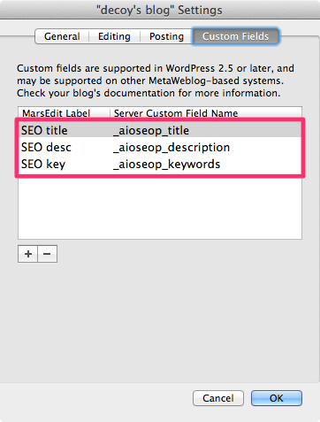 Marsedit all in one seo setting 2