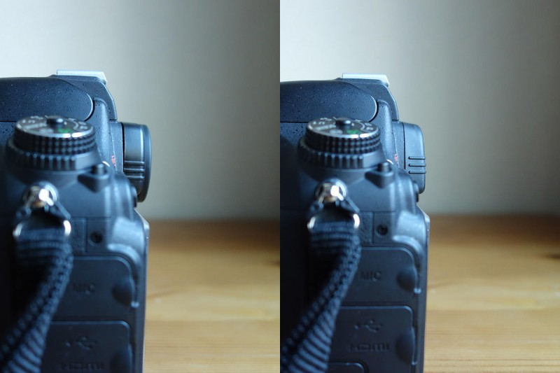 Nikon D600 ファインダー 丸窓 角窓 比較 横