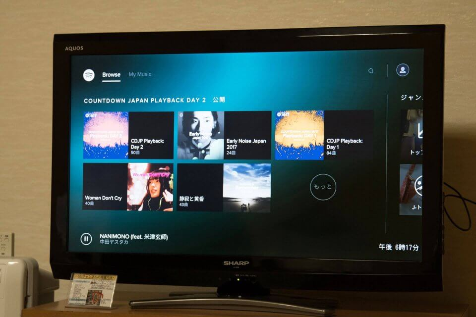 Fire TV Stick Spotifyの画面