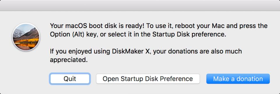 macOS High Sierra インストールディスク