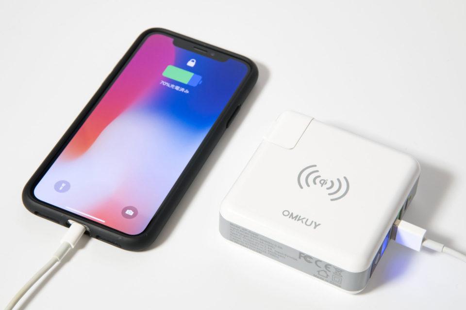 モバイルバッテリー qi ワイヤレス充電器でiPhone Xを充電