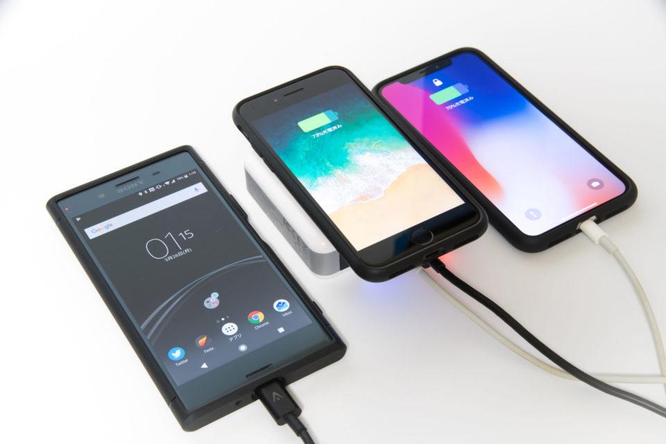 モバイルバッテリー qi ワイヤレス充電器でiPhone XとXperia XZ Premium iPhone 8を充電