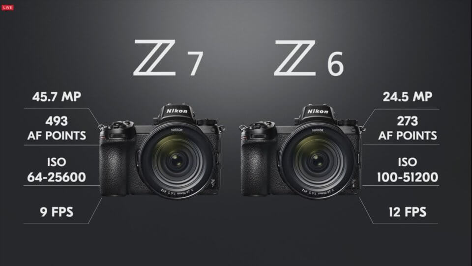 Nikon Z7 Z6 スペック比較