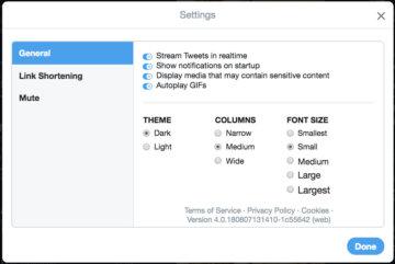 TweetDeck 見た目の設定変更