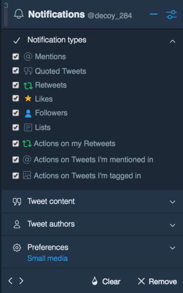 TweetDeck ツイートの絞り込み Notification types