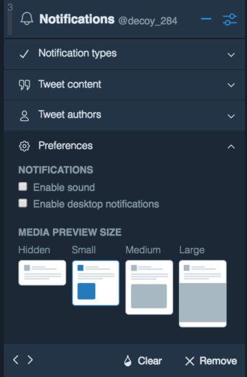 TweetDeck ツイートの絞り込み Preferences
