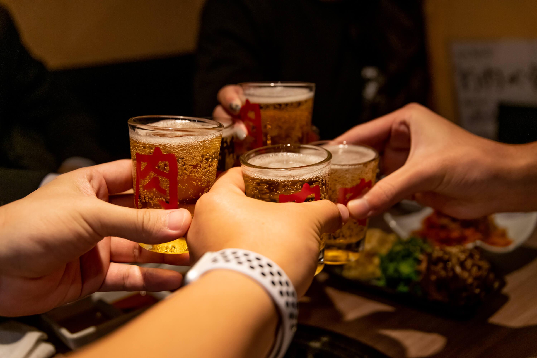 肉と日本酒 ビールで乾杯