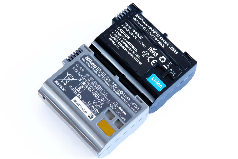 Nikon純正EN-EL15バッテリーとRAVPower互換バッテリー