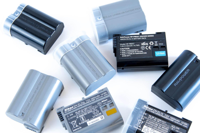 Nikon純正 EN-EL15  EN-EL15aバッテリーとRAVPower互換バッテリー