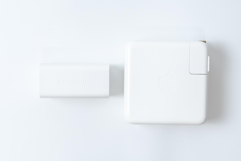 Innergie PowerGear 60C と Apple 61W充電器を比較