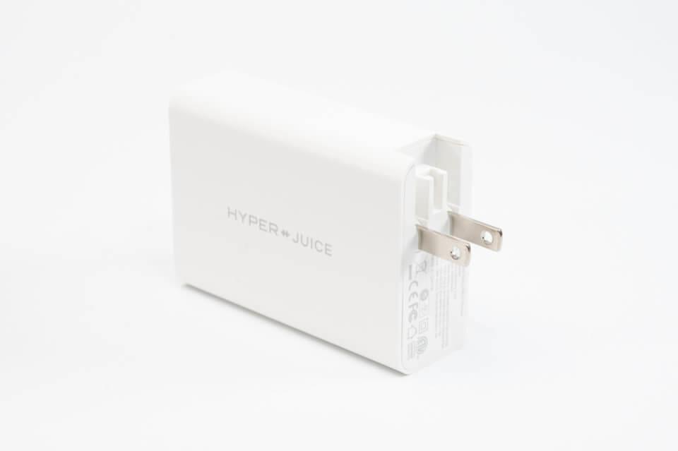 HyperJuice USB充電器のプラグは折りたたみ式