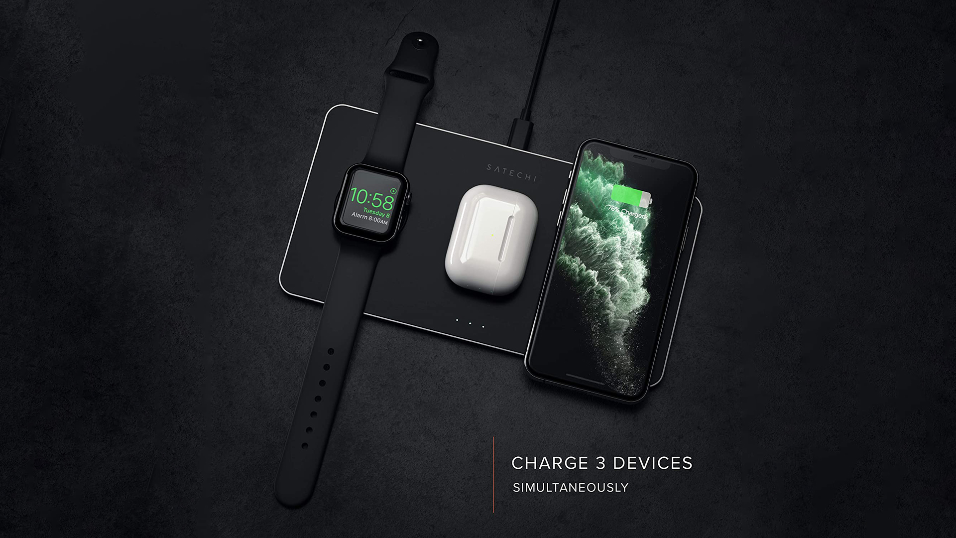 SatechiがiPhone、Apple Watch、AirPods Proを同時に充電できるワイヤレス充電器を国内で発売